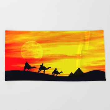 Egyptian supermoon Beach Towel by Pirmin Nohr