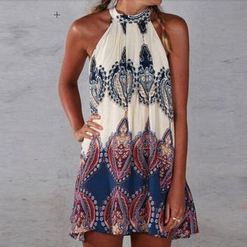 Super Cute Boho Paisley Halter Dress