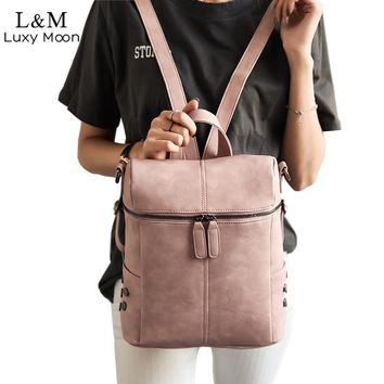 Simple Style Backpack Women Leather Backpacks For Teenage Girls School Bags Fashion Vintage