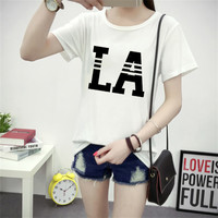LA Letters Print T Shirt Women Punk Raise Boys And Girls The Same Way Printed Casual T-Shirts Tees