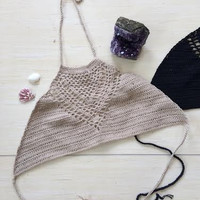 Young Spirit Crochet Top-Beige