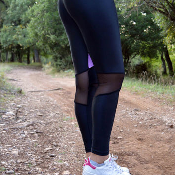 Women Leggings, Black - Pink Leggings, Gym Clothing, Workout Pants, Activewear, Stretch Leggings, Yoga Pants, Hipster Leggings, Sport Pants