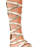 Metallic-Strappy-Gladiator-Sandals GOLD - GoJane.com