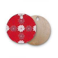 """KESS InHouse julia grifol """"Christmas Time"""" Red White Pattern Floral Vector Digital Round Wooden Cutting Board"""