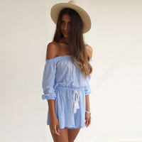 Blue Off Shoulder Drawstring Romper