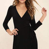 Twirl-Worthy Black Wrap Dress