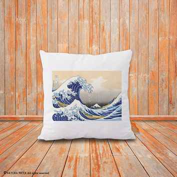 Kanagawa pillow cover-The great wave pillow-Kanagawa cushion cover-decorative pillow-home decor-holiday gift-pillow-by NATURA PICTA-NPCP060