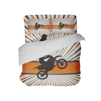 Orange Dirt Bike Rider Pillow Case from Extremely Stoked Motocross Bedding