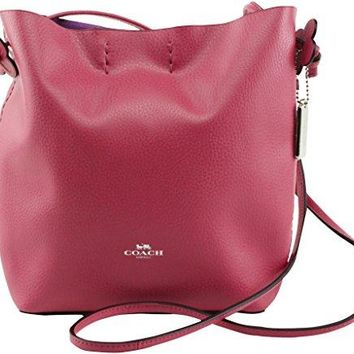 COACH Derby Pebbled Leather Crossbody in Silver / Strawberry Pink 58661