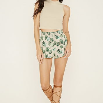 Smocked Leaf Print Shorts | Forever 21 - 2000185626