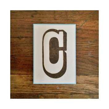 Decorative Wall Letter C Plaque, Woodburning with Painted Border, Custom Wall Letter Monogram Initial Art, Choose Any Letter