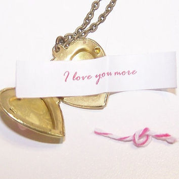 Valentine's Day, Heart, Locket, Vintage, Brass, Pale, Pink, Rose, Cabochon, Custom Message, Personalized
