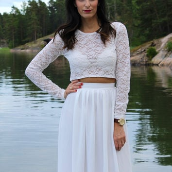 Lace crop top long sleeves crop top wedding crop by Batelboutique