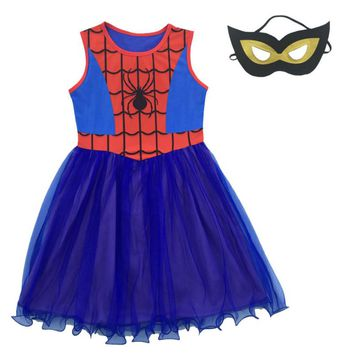 Baby Girl Dress Spider man Cosplay Costumes Children Dress Kid Clothing Princess Halloween Party Clothes Girls Dresses + Mask