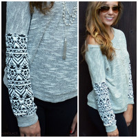 Mayan Ruins Gray Aztec Sleeve Top