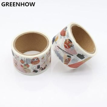GREENHOW  Japanese Washi Tape crafts Mixed Color Pastel Patterns DIY Decorative Adhesive Tape Set Masking Paper Tapes 9016