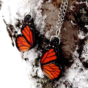Monarch Butterfly Friendship Necklace, Best Friend necklace, Butterfly Jewelry, Butterfly wing necklace, Wing jewelry