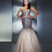 Mac Duggal Prom 2013 - Nude & Silver Strapless Sequin Mermaid Dress - Unique Vintage - Cocktail, Pinup, Holiday & Prom Dresses.