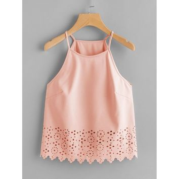 Scallop Laser Cut Cami Top Pink