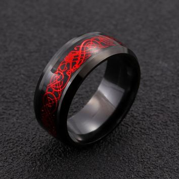 Stainless steel black Ring Mens Red dragon Jewelry for Men lord Wedding ring