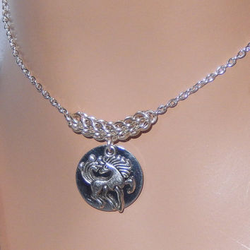 Silver horse charm necklace, chainmaille necklace full persian, horse pendant necklace, great for gifts, women necklace, for horse lovers