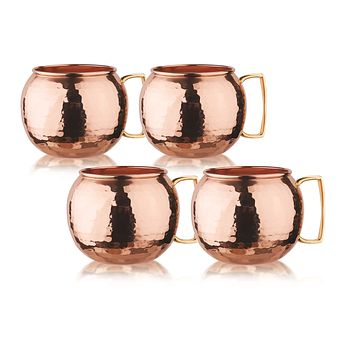 Hammered Solid Copper Globe Moscow Mule Mugs Set of 4 in XL 32 oz