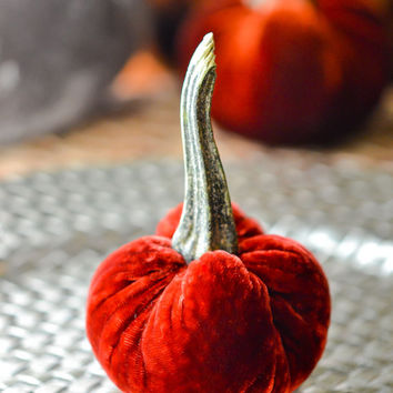 1 Mini Cedar Red Silk Velvet Pumpkin, Fall Decor, Table Centerpiece, Homemade Rustic Decoration