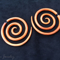 Large Wood Earring, Bali Triple Size Spiral Earrings, Very Big Tribal Fake Gauge Wooden Jewelry FGW-0041-3