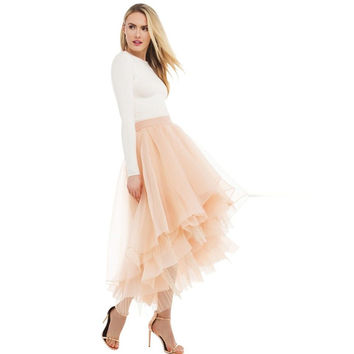 Modest Tulle High Low Women Tulle Skirts Ruched Ruffles Ankle Length Adult Skirt Zipper Special Designed  2017 Photoshoots