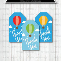 Printable Thank You Tag, Up and Away, Hot Air Balloon,Travel, Baby First,Oh the Places, Dr Seuss, Baby Shower, Favor Tags, Loot Bag Tag