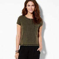 AEO Women's Destroyed Pocket T-shirt (Olive)
