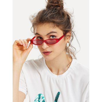 Oval Lens Sunglasses RED