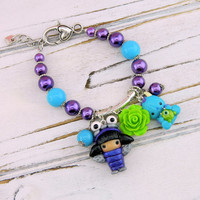 monsters inc bracelet, sully charms, sully bracelet, sully and mike