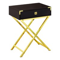 """Accent Table - 24""""H / Cappuccino / Gold Metal"""