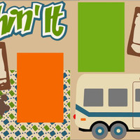 Scrapbook Page Kit or Premade Layout 12X12 2-Page - Camping/Summer/Family Vacation/Trailer