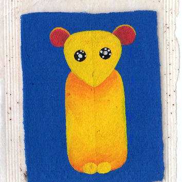 AECO, Miniature art, teabag, painting, Unique, Original, creature, Bear, Blue Yellow, Pop surrealist, Lowbrow, Kitsch, cute, big eyes