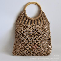 Hand-knitted Hollow Round Rattan Handle Summer Bag