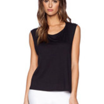 Black Cut-Out Sleeveless Cross Back Tank for Women