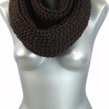 Thick Knit Infinity Scarf - Chocolate