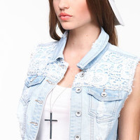 Cropped Crochet Denim Vest - LoveCulture