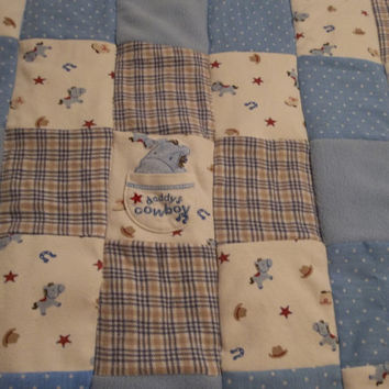 Baby Boy Cowboy Quilt, Daddy's Cowboy, Boy's Horse Blanket, Baby Boy Quilt, Upcycle Baby Clothes Quilt, Baby Shower Gift, Gift for baby boy