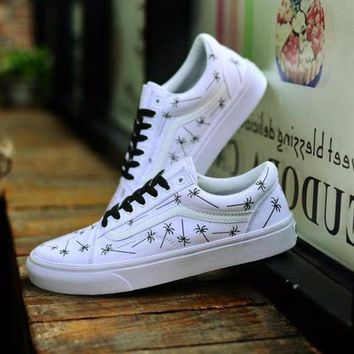 For Those Who Sin X Vans Old Skool Sneakers Training Shoes White Palm Tree - Beauty Ticks