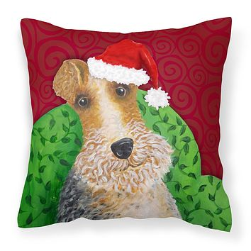 Wire Fox Terrier Christmas Fabric Decorative Pillow VHA3040PW1818