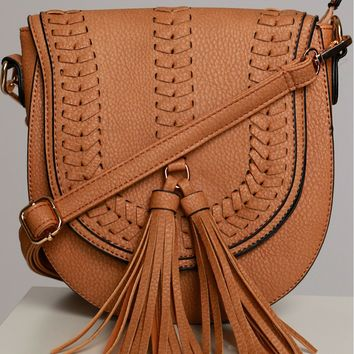 Woven Tassel Shoulder Bag Tan