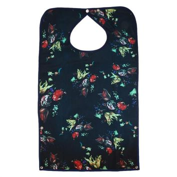 Adult Mealtime Protector Waterproof Detachable Pocket Bib Disability Aid Apron Washable with Crumb Catcher