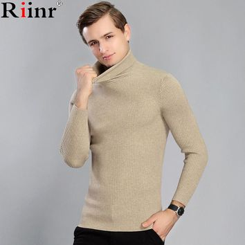 Fashion New Arrival Men Sweater High Quality Winter Casual Solid Color Knitted Turtleneck Pullovers Men Sweaters