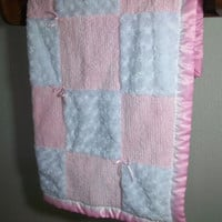 Plush Pink Chenille and Minky Baby Quilt- Pink Baby Girl Blanket -Minky Baby Quilt