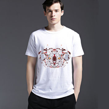 Fashion Tee Stylish Casual Summer Men's Fashion Animal Cotton Pattern Short Sleeve T-shirts = 6451459843
