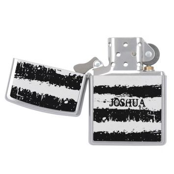 Monogrammed Black And White Grunge Stripes Zippo Lighter