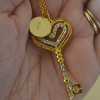 Gold Rhinestone Skeleton Key Necklace With Gold Personalized Hand Stamped Charm, Initial Gold Necklace, Monogram Jewelry